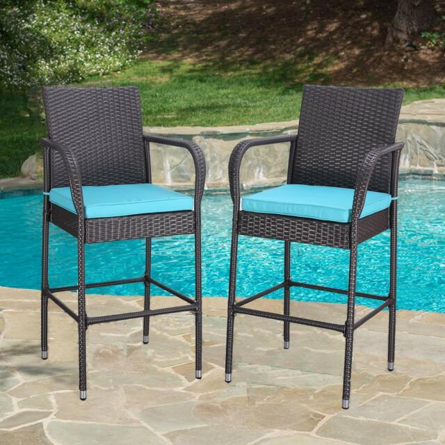 Set of 2 Outdoor Wicker Rattan Bar Stool Set Furniture Club Chairs Outdoor Patio