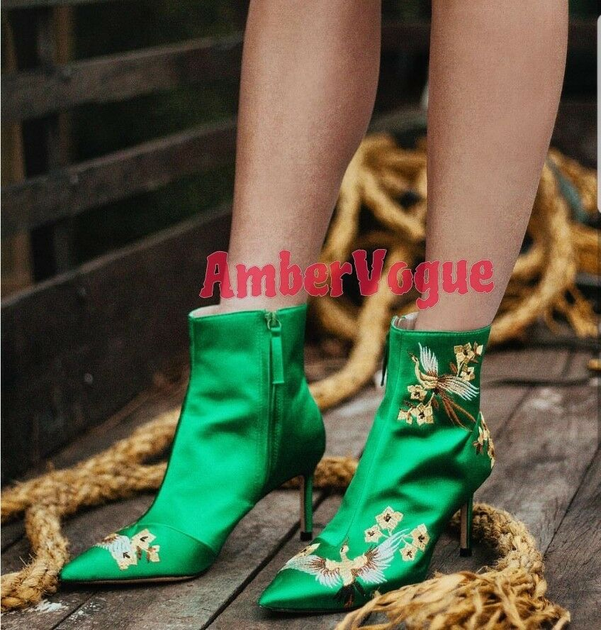 ZARA GREEN SATIN EMBROIDERED ANKLE BOOTS SIZE EURO 37