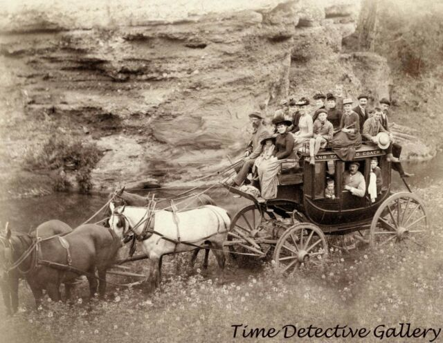 Tourists on Stagecoach at Hot Springs, South Dakota -1889- Historic Photo Print