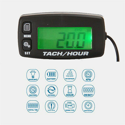 Digital Tachometer Hour Meter Tach Thermometer LED Display Engine Temperature Gauge Sensor Meter for RC Toys PWC ATV Motorcycles Marine Engines Chain Saws Tractors Lawnmowers