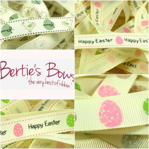 Bertie's Bows Happy Easter Egg Ribbons - 4 designs available - 1m or 3m lengths