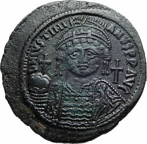 JUSTINIAN-I-the-GREAT-539AD-Ancient-Constantinople-Follis-Byzantine-Coin-i82260