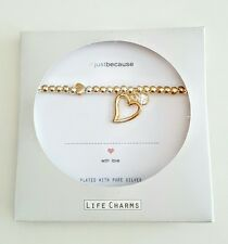 LIFE CHARMS #JUST BECAUSE GOLD HEART💜 CRYSTAL CHARM  BRACELET ENVELOPE GIFT