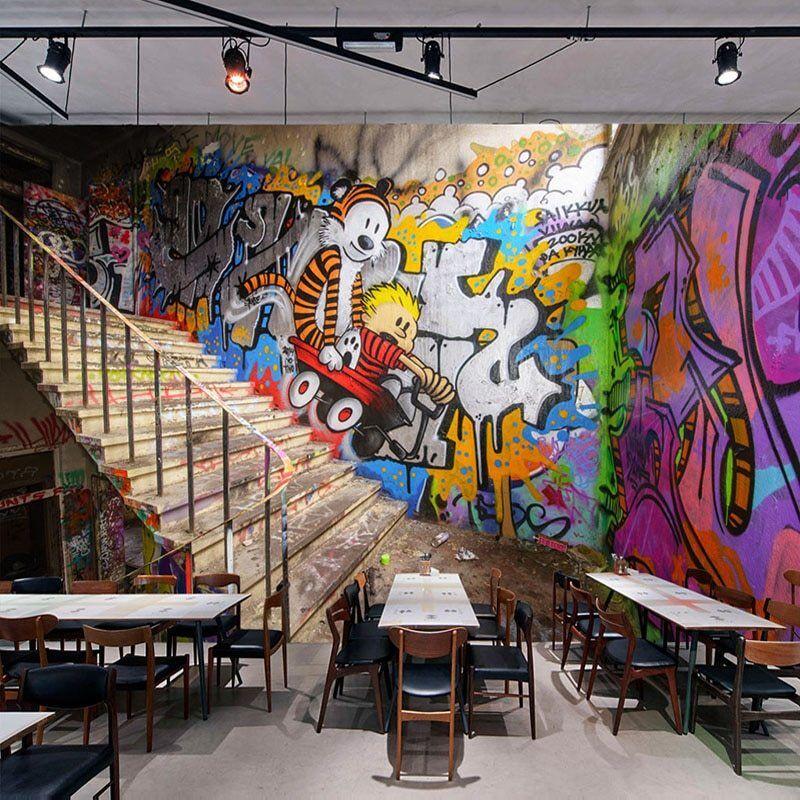 3d Graffiti Stairs Bar Garage Wall Mural Wallpaper Room