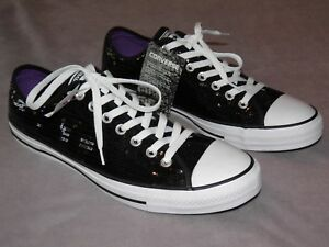 Converse All-Star Ox Black Sequin Chuck Taylor 136079F Unisex Men 10 ... 7348b9eb5