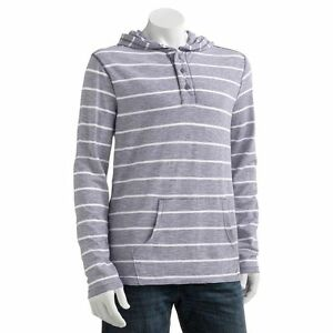 New SONOMA Life + Style Men's Striped Henley Hoodie Grayish Purple MSRP $44