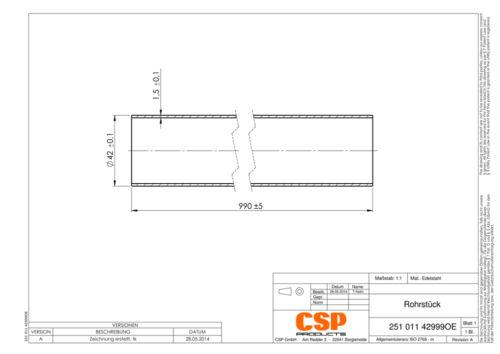 Auspuff Universal Rohr 42mm L 990mm Stahl Auswahl zw Edelstahl Rohrstück