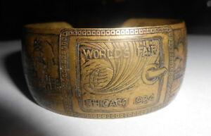 Vintage 1934 Worlds Fair Cuff Bracelet Century of Progress Finely Detailed Brass