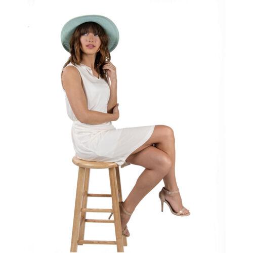 Vintage Women Bow Hat Foldable Wide Brim Summer Sun Beach Straw Hat Round Caps
