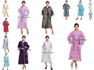 Indian-Womens-Cotton-Kimono-Dressing-Gown-Long-Bath-Robe-Night-Dress-Sleepwear
