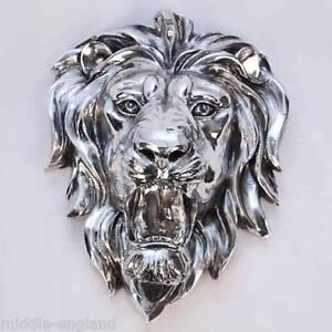 Image is loading SILVER-LION-HEAD-WALL-ART-HANGING-18-5- & SILVER LION HEAD WALL ART HANGING 18.5