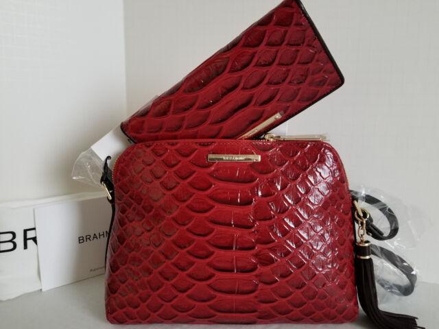 13e9f59289b74 Brahmin Mini Sydney Cross-body Red Scarlet Vardo Leather Bag+ Bi-fold  Wallet NWT