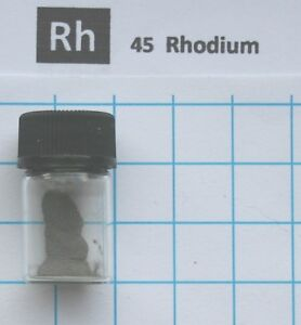 0.2 gram 99.95% Rhodium Metal Powder in glass vial - Element 45 sample
