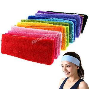 Yoga-Gym-Sports-Sports-Dance-Cotton-Terry-Cloth-Sweatband-Hairband-Headband-LOT