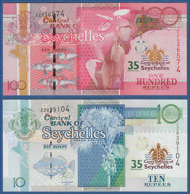 SEYCHELLES 10 100 Rupees 2013 35 years Centralbank Replacement ZZ UNC P.46,47
