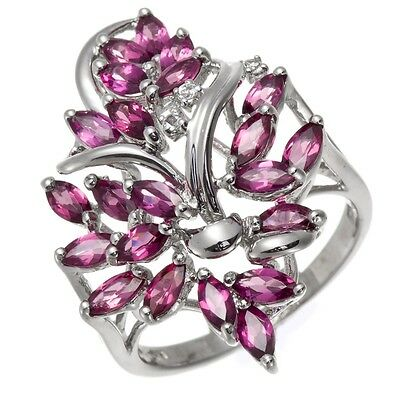 Red Rhodolite Garnet and White Topaz 925 Sterling Silver Ring, Women Jewellry