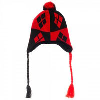 Harley Quinn Pom Laplander Beanie Knit Hat Dc Comics