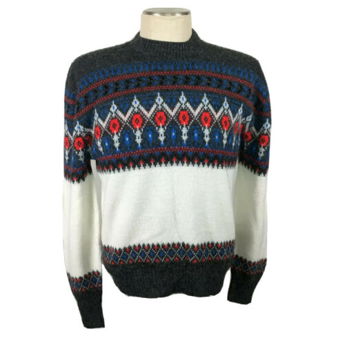 Mens Vintage Fair Isle Sweater Jockey Crew Neck L
