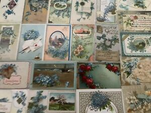 Nice-Lot-of-25-FORGET-ME-NOTS-FLOWERS-Antique-greeting-Postcards-in-Sleeves-s751