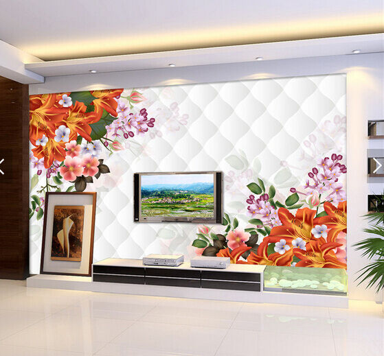 3D orange Lily Painted 695 Paper Wall Print Wall Decal Wall Deco Indoor Murals