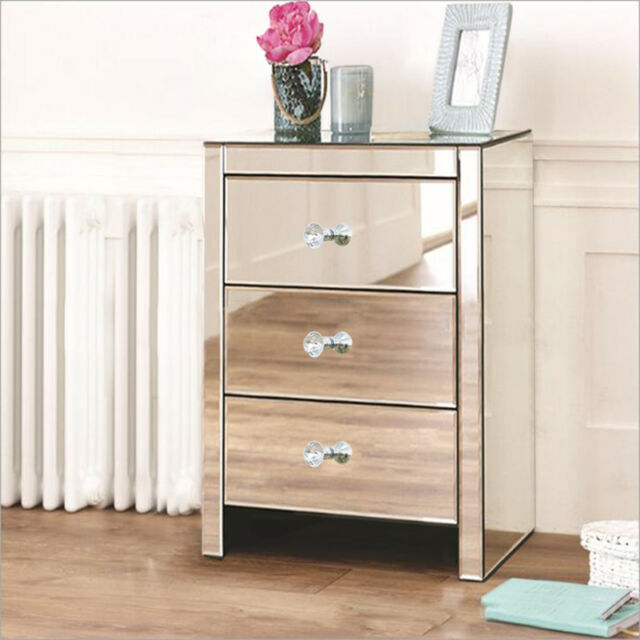 3 Drawer Modern Mirrored Furniture Glass Bedside Cabinet Table Bedroom Home Unit