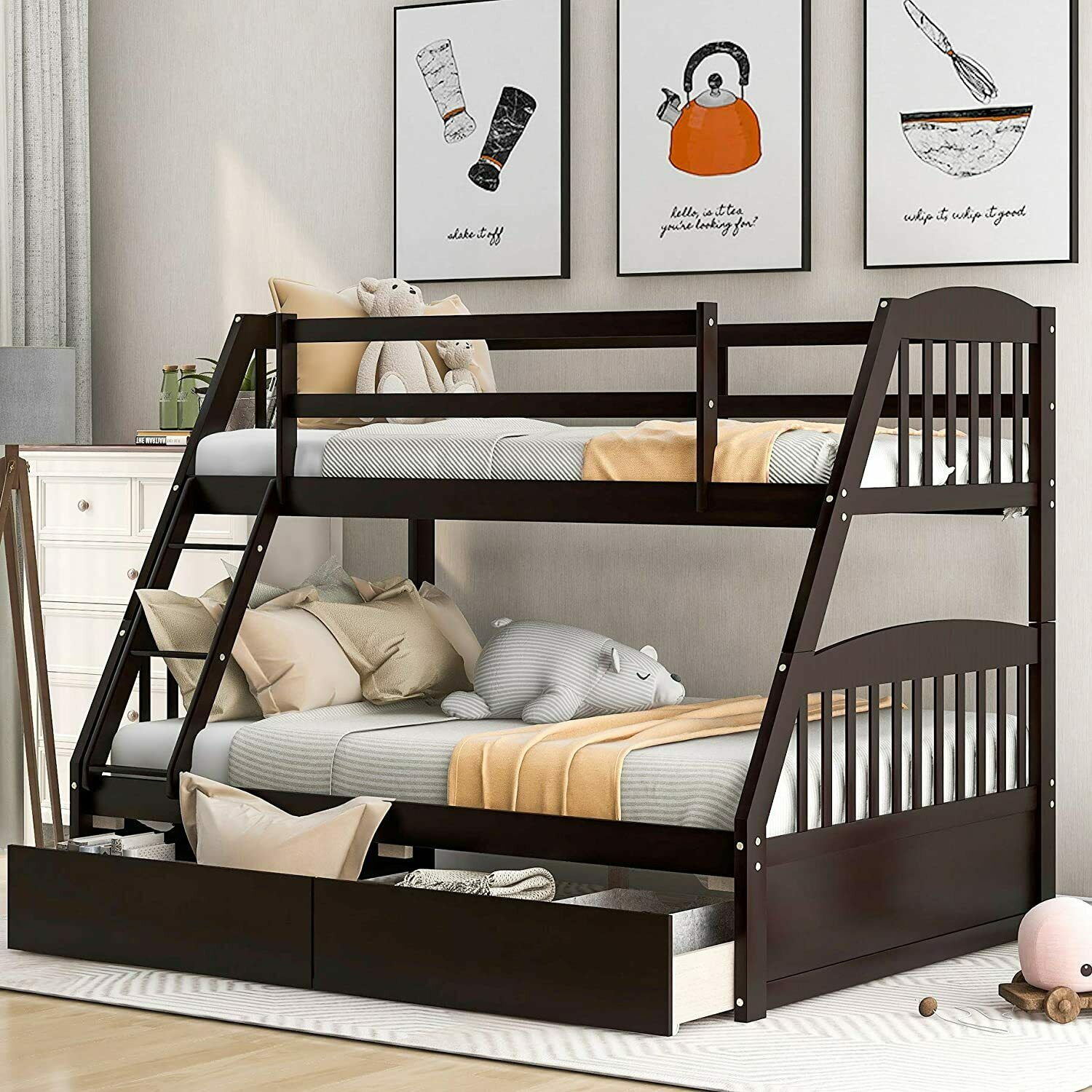 Bedz King Stairway Bunk Beds Twin Over Full With 4 Drawers White Full For Sale Online Ebay