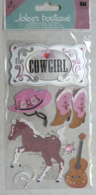 Jolee's Boutique ~COWGIRL~ Dimensional Stickers; Rodeo Horses Horse Riding Boots