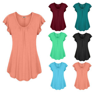 Summer Women Casual Crew Neck T Shirt Solid Tunic Short Sleeve Blouse Loose Tops
