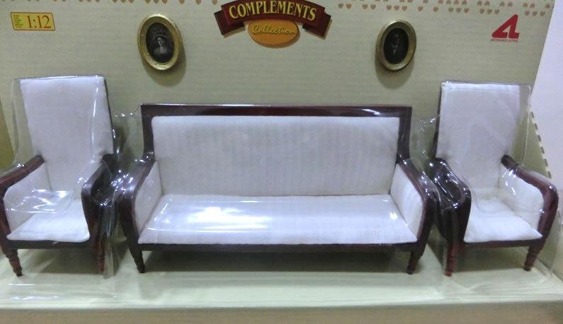 Set sofa + armchairs cottage dollhouse dolls scale 1 12