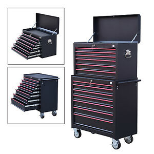 heavy duty tool storage cabinet box steel chest 7 drawers garage w wheels ebay. Black Bedroom Furniture Sets. Home Design Ideas