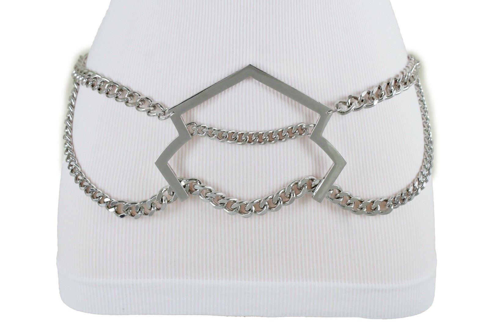 Women Silver Metal Chain Bulky Arrow Charm Buckle Going Out Fashion Belt M L XL
