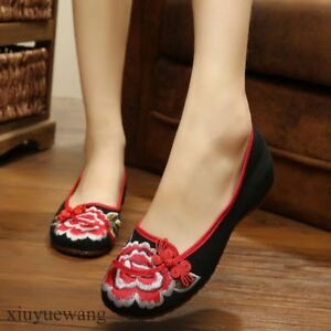 Chinese-Style-Womens-Canvas-Casual-Shoes-Slip-On-Loafers-Round-toe-Flats-Plus-SZ