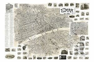 Old-Map-of-Elmira-NY-from-1901-Vintage-New-York-Art-Historic-Decor
