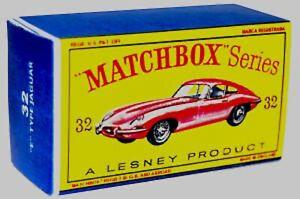 Matchbox-Lesney-No-32-JAGUAR-E-TYPE-empty-Repro-style-D-Box