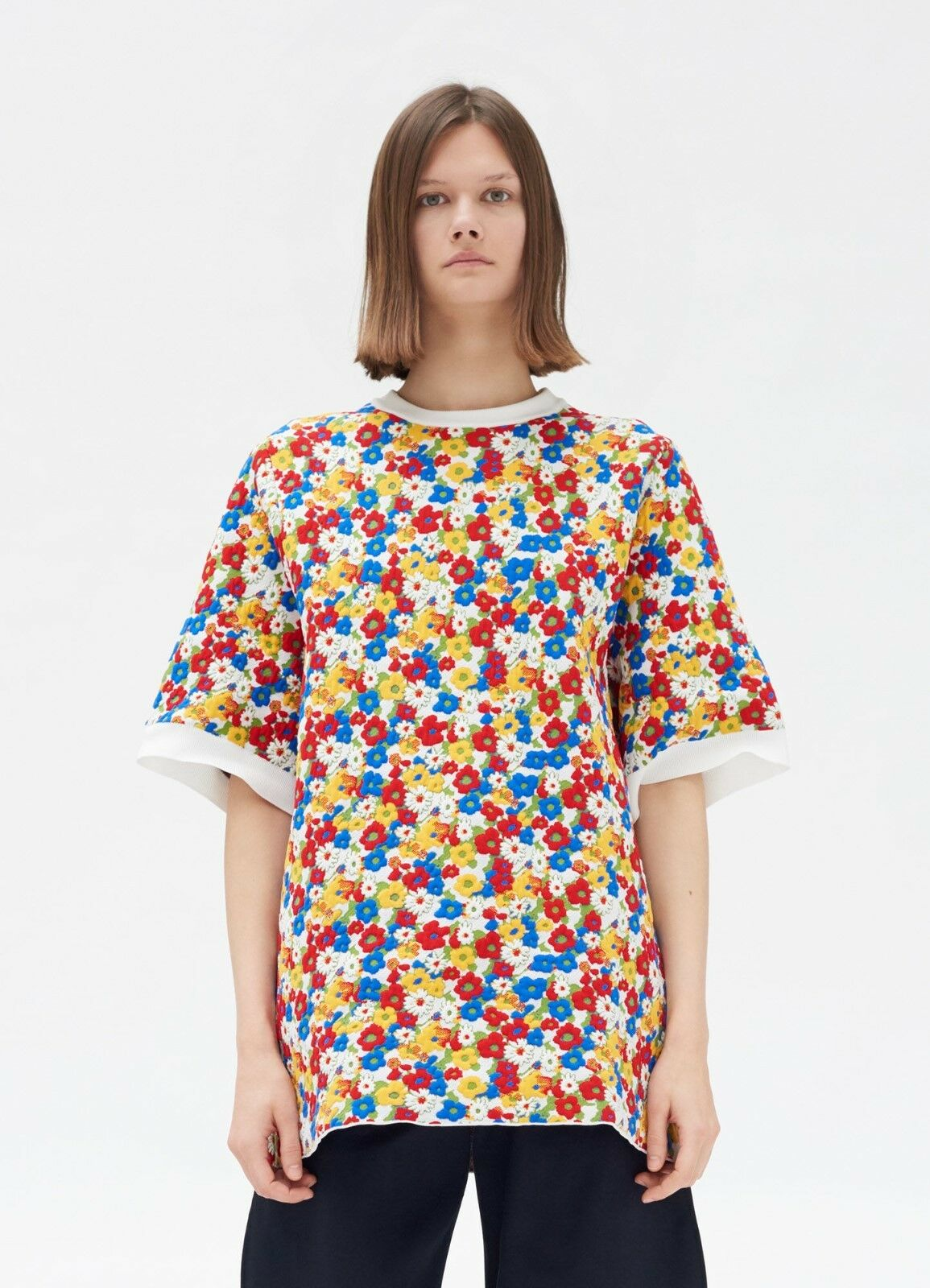 CELINE by Phoebe Philo 1600  New Polo Sweater In Multicolour Small Flowers Print