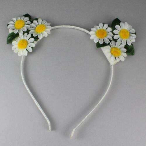 White floral cat kitten ears headband hair band kawaii cosplay costume flower