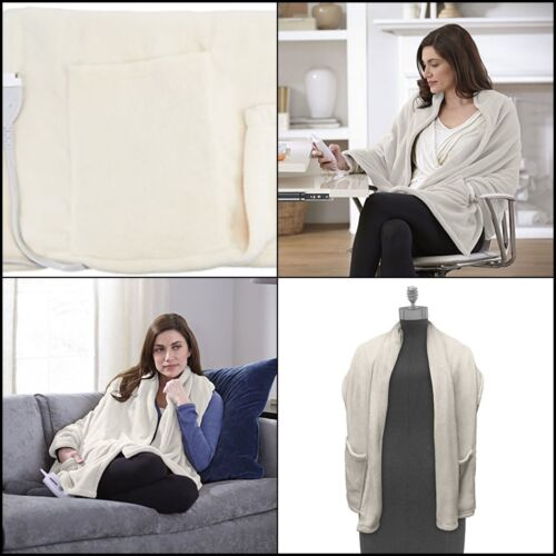 Electric Heated Shoulders Wrap Around Blanket Soft Cozy & Warm Shawl w/ Pockets