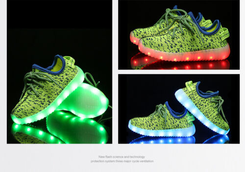 Flash LED Light Up Kids Boy Girls Knitted Trainers Luminous Sneaker Shoes E710-1