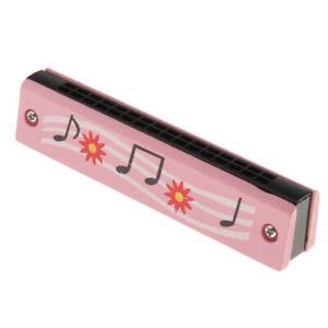 Armonica-In-Legno-16-Fori-Per-Bambini-Giocattoli-Musicali-Rosa
