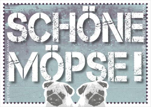 """A6 Postkarte Spruchkarte lustige Sprüche Karte Mops Hund Spruch /""""Schöne Möpse!/"""""""