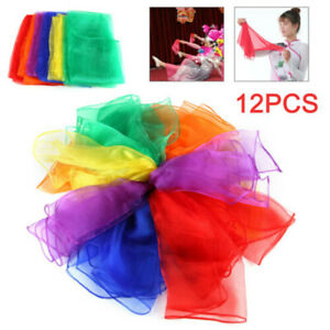 12Pack-Dance-Autism-Sensory-Toys-Juggling-Scarves-Kids-Adult-Perform-Scarf-Gift