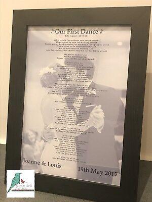 First Dance Wedding song lyrics personalised photograph print
