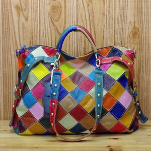 Color-Clash-100-Genuine-Cowhide-Leather-Ladies-Handbag-Tote-Purse-Shoulder-Bag