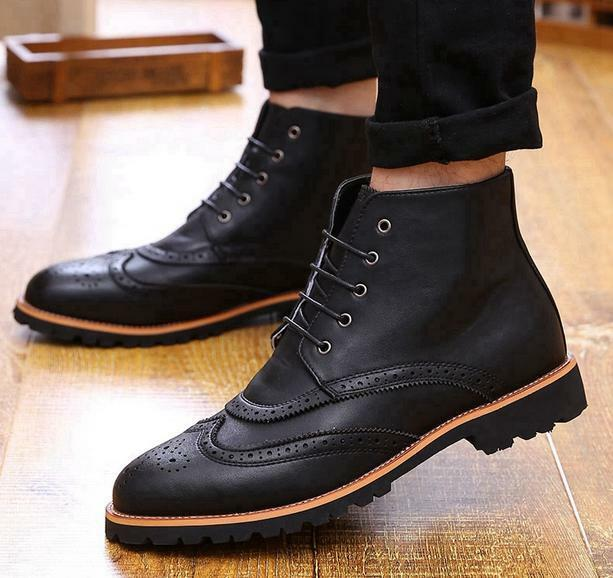 Vintage Mens Oxfords Brogue Wing tip Lace up Ankle Boots leisure High Top shoes