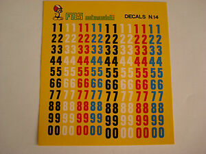 DECALS-KIT-1-43-NUMERI-CM-7-8-COLORI-F1-24h-LE-MANS-N-14-DECAL