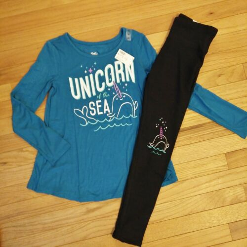 NWT Justice Girls Outfit Girl Narwal Top//Leggings Size 8