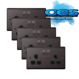 5 x BG Nexus NBN22B Polished Black//Nickel 13Amp Double Plug Socket 2 Gang