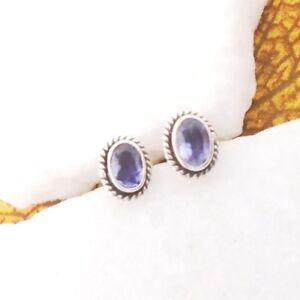 Iolith-blau-oval-modern-Design-Ohrringe-Ohrstecker-925-Sterling-Silber-neu