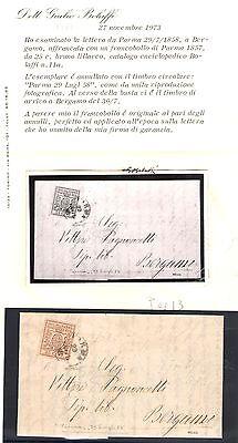 MüHsam 1857-59 Parma 25 Prozent Bruno Flieder N ° 11a Auf Umschlag 29/07/1858 Europa