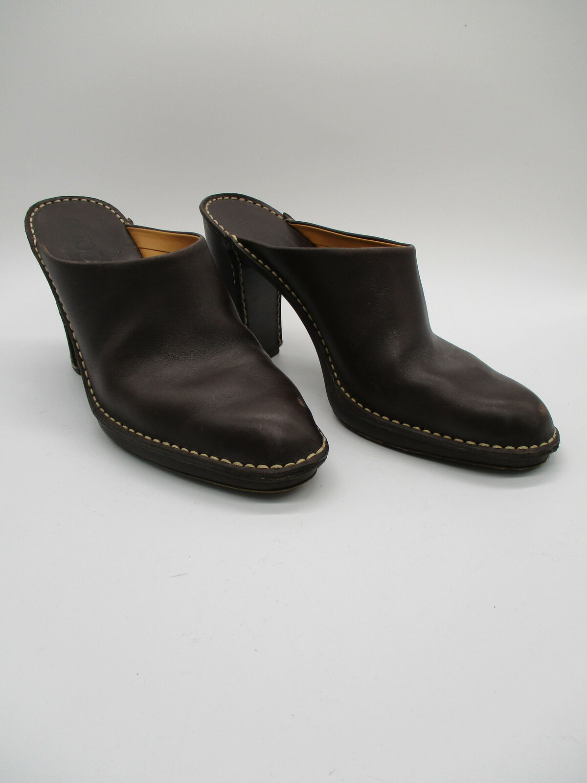 TODS brown leather block heel mules sz 40.5 - image 4